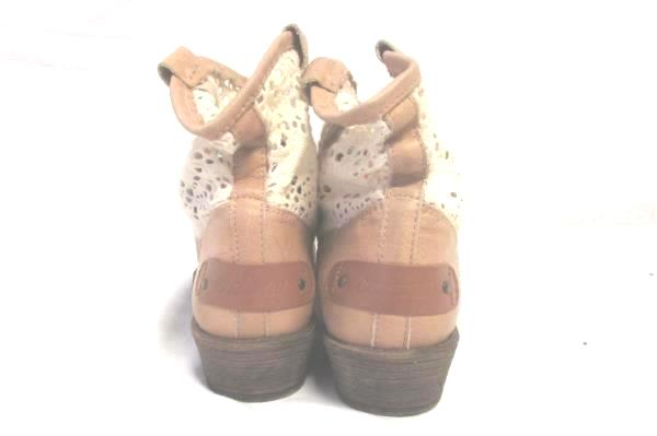 Women's Cool Way Tan And White Booties Ankle Boots Crochet Cowboy Size 5