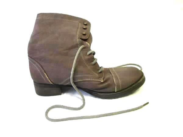 Women's Cathy Jean Brown Leather Lace Up Boots Shoes Flat Size 6