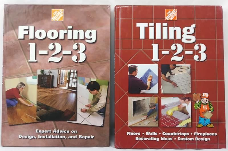 2 Hardback Home Improvement Books: Tiling 1-2-3, Flooring 1-2-3 Home Depot