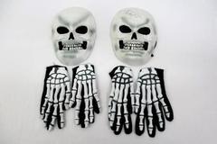 Lot of 2 Rubber Skeleton Head Masks & Bony Hand Glove Sets