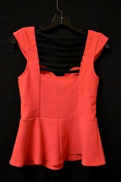 Studio Y Flared Blouse Sweetheart Neckline Pink/Black Women's Size M w/Tag