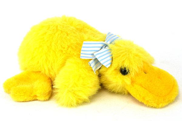 "9"" Long 1988 Crishna Playful Plush Duck Blue and White Ribbon"