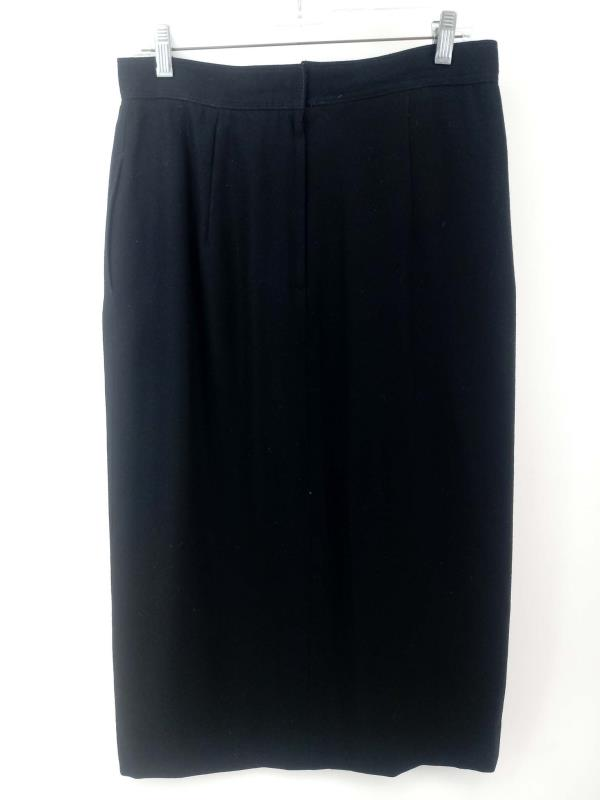 Vintage '90s THE VILLAGER Black Skirt Pleated Panel 100% Wool Women's Sz 14