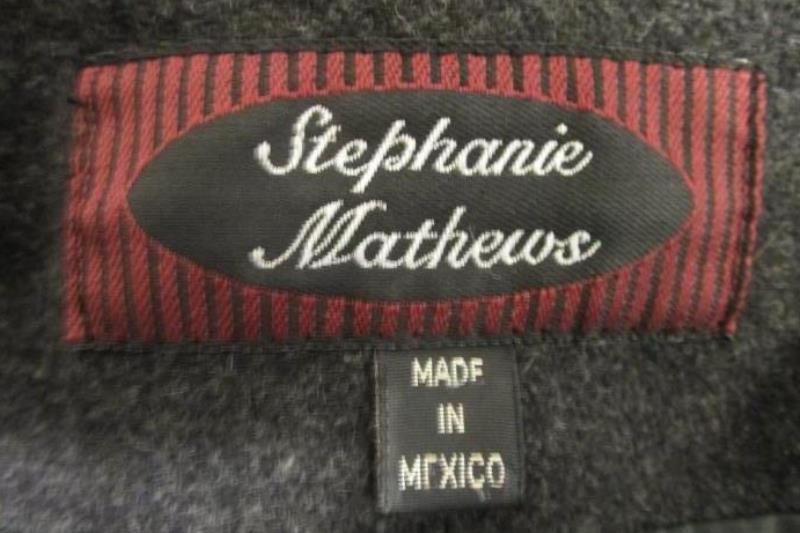 Women's Stephanie Matthews Winter Wool Coat Blazer Charcoal Size 8