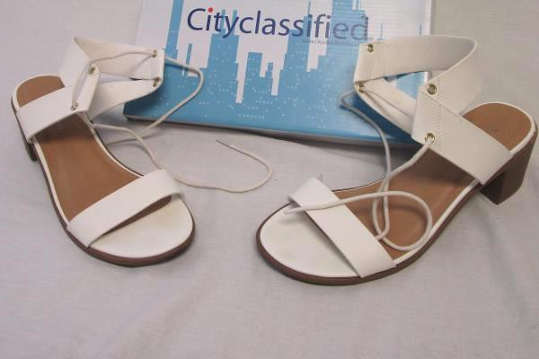 City Classified Wedge Heels Gladiator Strap Open Toe White Size 8.5