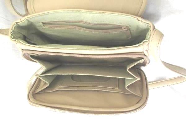 Koltov Shoulder Bag Purse Handbag Beige Flap Over Closure