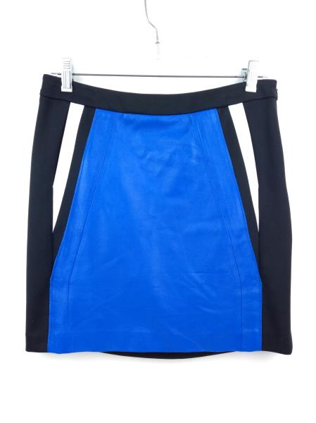 SUSANA MONACO Blue / Black Color Block JACLYN Leather Mini Pencil Skirt $194