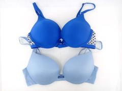 VICTORIA'S SECRET Bra 2PC LOT Blue Plunge / Velvet Polka Dot Push-Up 34C