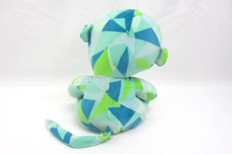 """12"""" Ideal Toy Direct Green & Blue Plush Monkey Triangle Pattern"""