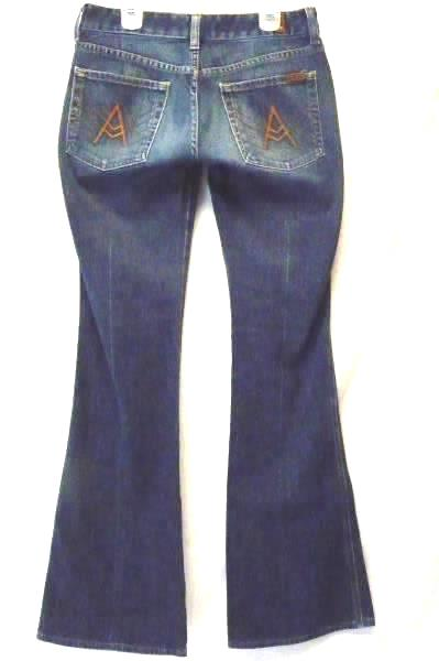 """7 FOR ALL MANKIND """"A"""" Pocket Boot Cut Jeans Medium Wash Women's Sz 27"""
