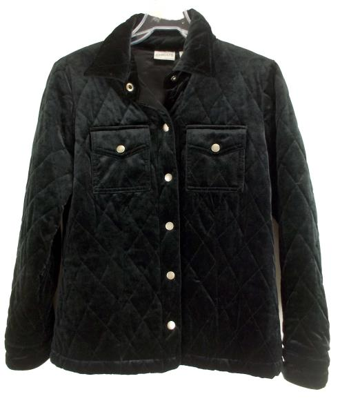 CHICO'S Quilted Jacket Black Velvet Snap Front Sz 0 (Women's Small, 4/6)