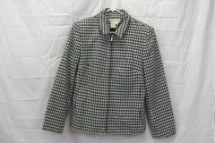 Dress Barn Women's Black & White Shoulder Pad Warm Zip Jacket Size 8
