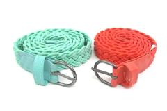 Two Braided Cord Women's Belts Orange And Sea Green 41.5""