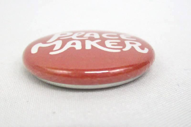 Lot of 12 Pin Back Button Peace Maker  Light Red