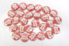 Lot Of 28 Pin Back Buttons Peace Maker  Light Red