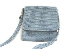 The Sak Lined Crossbody Shoulder Crochet Woven Purse Rare Steel Blue