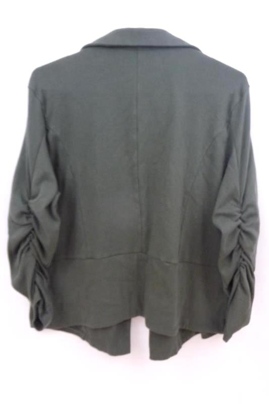 Necessitees Women's Green Clean Front Riding Jacket Runching Sleeves Size XXL