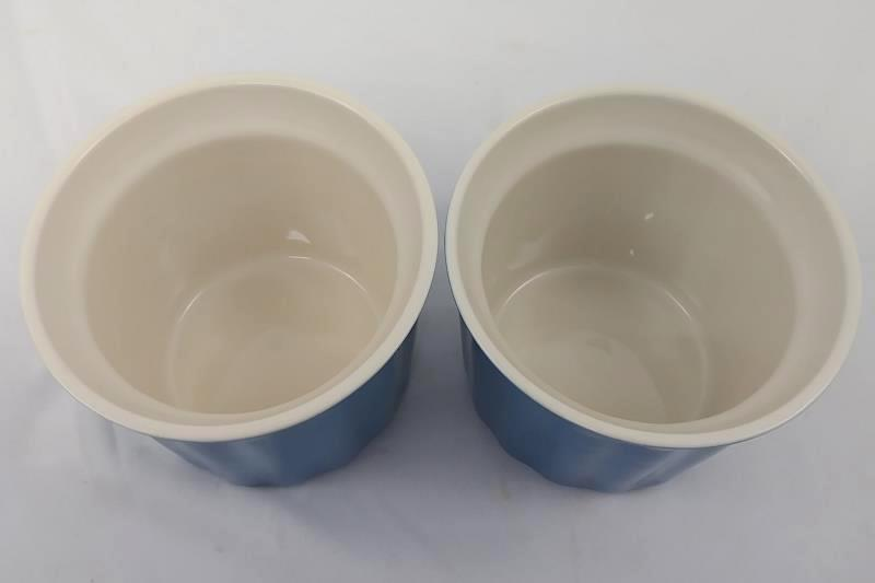Pair of 16oz Blue & Cream Color Coffee Mugs, Dishwasher, Microwave & Oven Safe