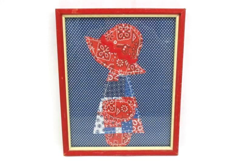 1970's Framed Stitched Bandanna Art Deco Red, White Blue A Girl Wearing A Bonnet