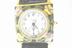 Wrist Watch By Sheffield -Cloisonne Quartz 14k Gold Enamel- Floral/Pearl Design