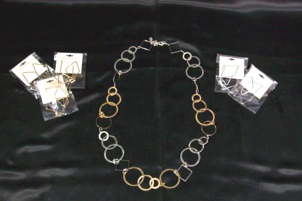 Silver & Gold Colored Triangle Earrings & Circle Triangle Necklace ~ Lot Of 5 ~