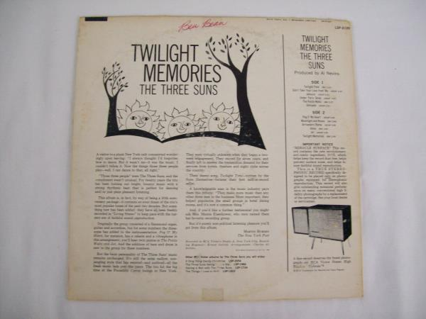 Twilight Memories The Three Suns Vinyl Record 1960