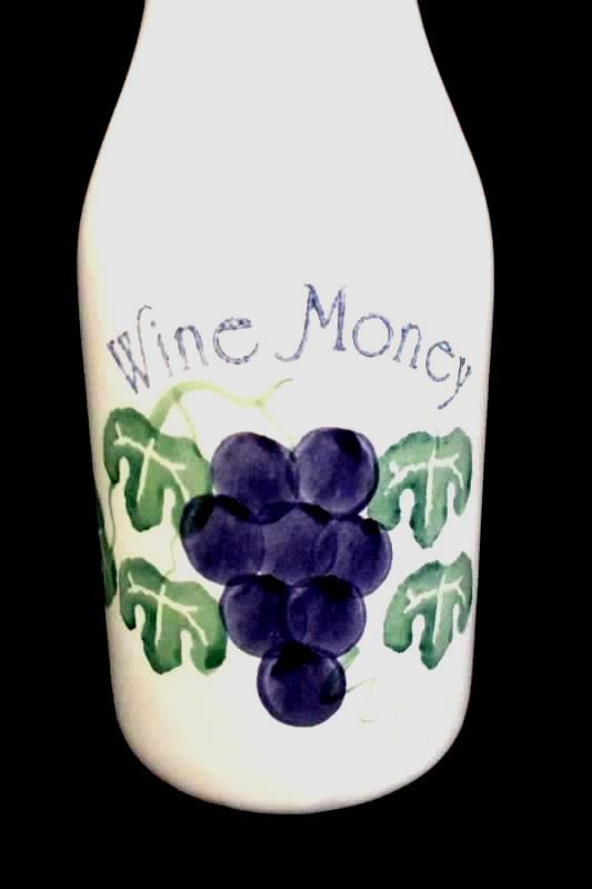 "VTG Crock Shop Santa Ana Bottle Piggy Bank Cork Wine Money  9"" Ceramic"