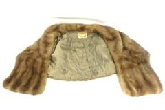 Vintage Meier & Frank Co. Fur Wrap Shall Coat Light Brown Pockets