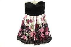 NWT Trixxi Strapless Black Floral Print Junior's Sz 3 Prom Party Dress Formal
