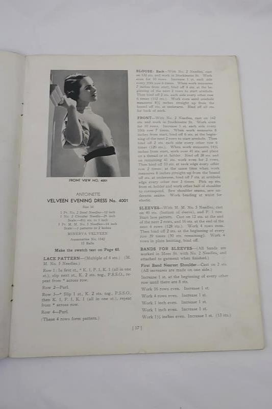 1935 Minerva Paris Book Volume #40 Paris Fashions, Minerva Yarns Patterns