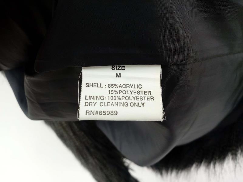 FAUX FRENZI by DENA Long Vegan Faux Fur Vest Black / Blue Stripe Open Front Sz M