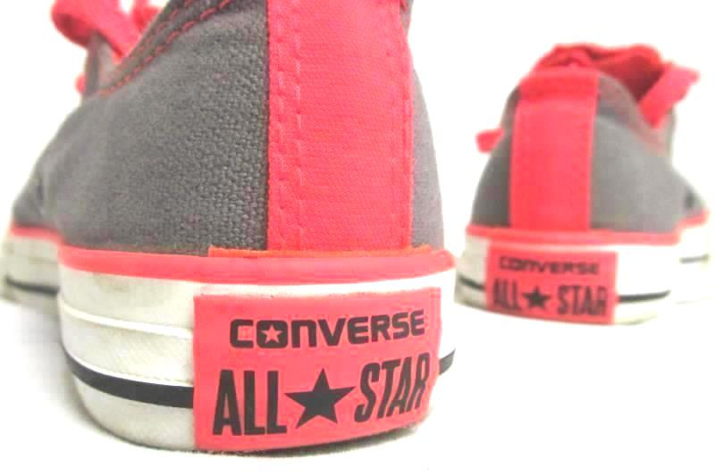 Converse All Star Lace Up Sneakers in Grey/Neon Orange Junior's Size 2