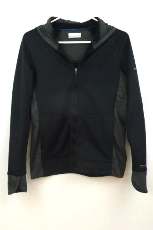 Columbia Omni-Wick Full Zip Jacket Hood Black Gray Youth Size Small Athletic