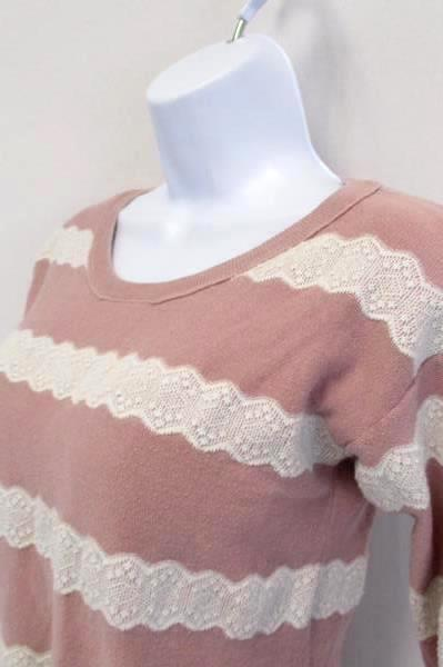 American Eagle Outfitters Pink w White Lace Striped Lightweight Sweater Size S/P