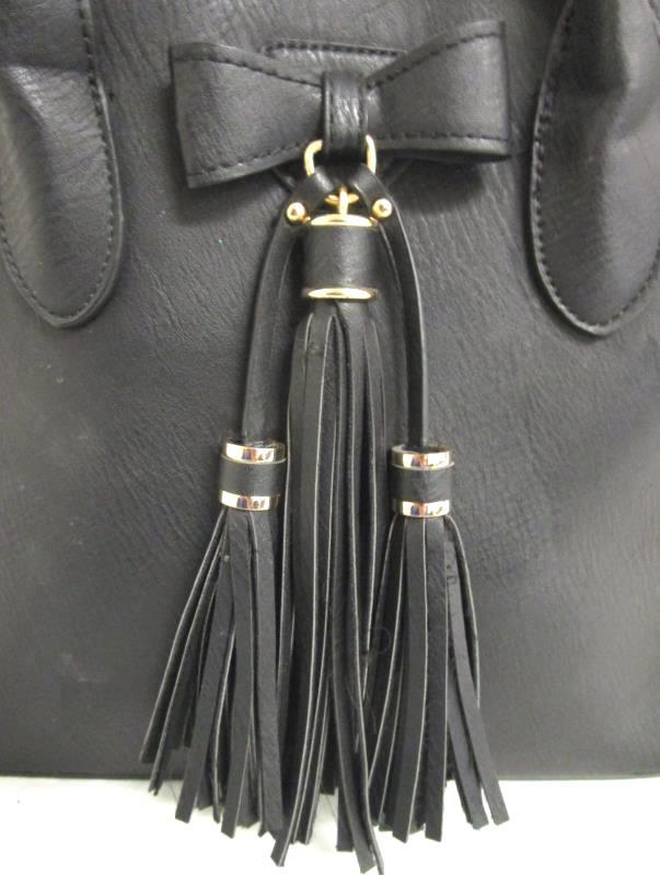 Miztique Women's White/Black Leather Tote Purse Removable Strap