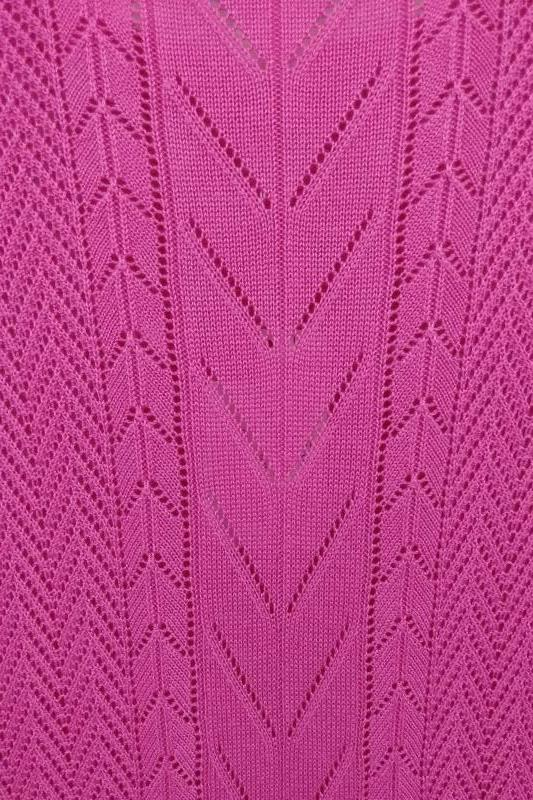 NWT Christopher & Banks Women's Pink Open Knit Stretchy S/S Top Size M