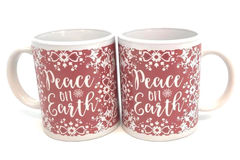 """Set Of 2 Red And White """"Peace On Earth"""" Coffee Mugs - 2018 Thirty-Fourth & Main"""