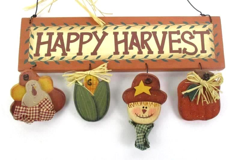 Happy Harvest Fall Wood Wall Hanger