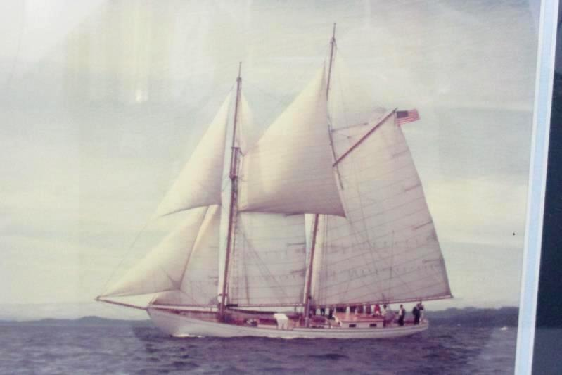 """Unsigned Framed Photo of A Schooner On The Ocean 14"""" x 13.5"""""""