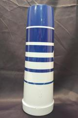 Thermos Blue and White Striped Plastic Travel Mug Insulated with Handle
