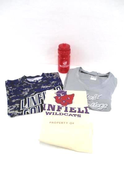 Linfield College Wildcats Lot of 4 T-Shirts Water Bottle and Laundry Bag