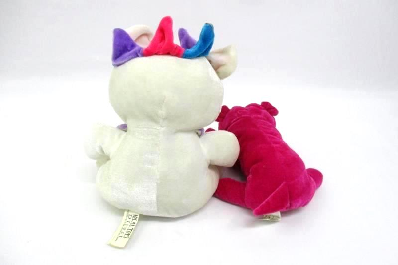 """Lot of 2 Ideal Toys Direct 8.25"""" Long Magenta Puppy And 9"""" Circus Bear"""
