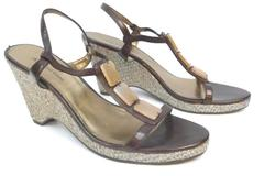 Anne Klein Women's AKSweetheart Brown Open Toe Sandal Heel Size 8 1/2M