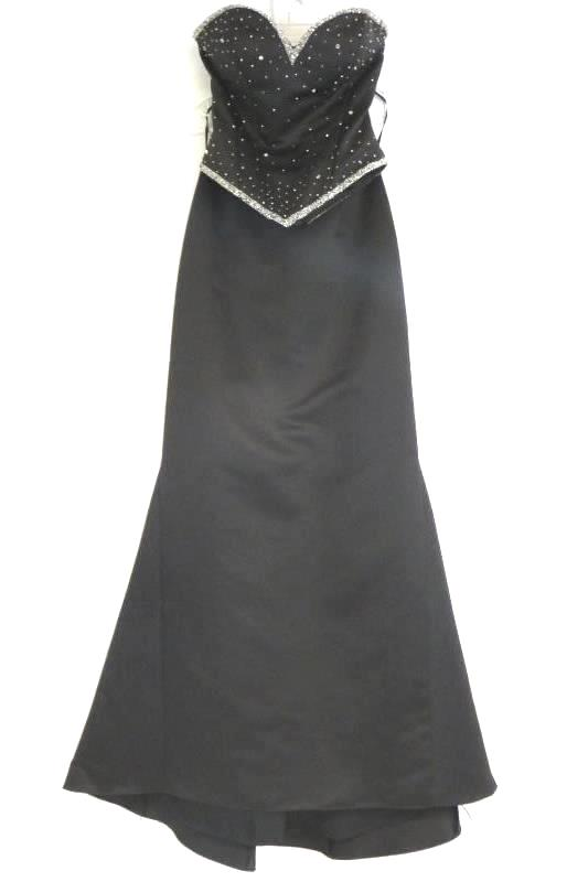 Sean Collection Women's Black Beaded Lace Up Corset Maxi Dress Prom Formal Sz XS