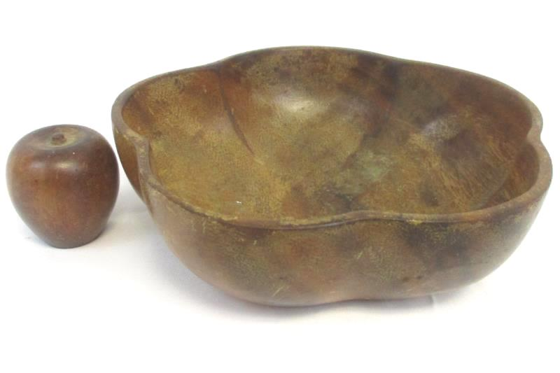 Genuine Hand Carved Monkey Pod Bowl From Philippines W/ Apple