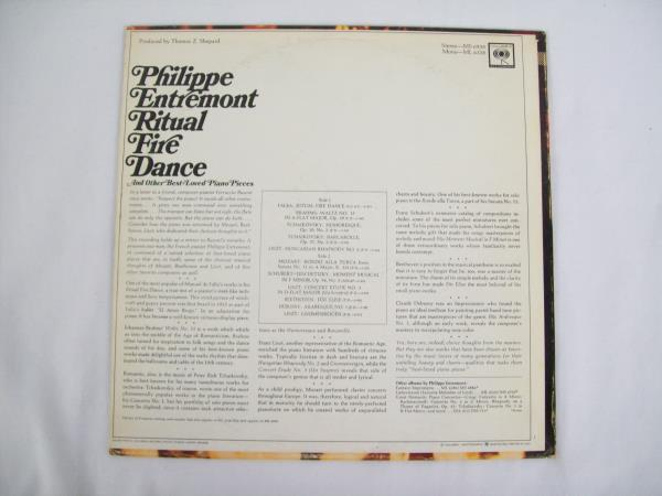 "12"" Ritual Fire Dance & Other Best Loved Pieces Philippe Entremont LP Record"