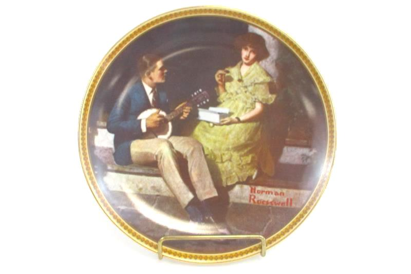 """Knowles Norman Rockwell """"Pondering On The Porch"""" Third Issue Plate #18380J"""