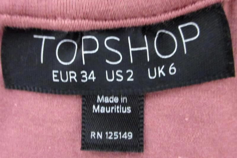 TOPSHOP Mauve Cold Shoulder Long Sleeve Top Women's 2 (XS)