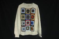 Vintage Granny Square Acrylic Sweater XL Thick Winter Knit From THANE