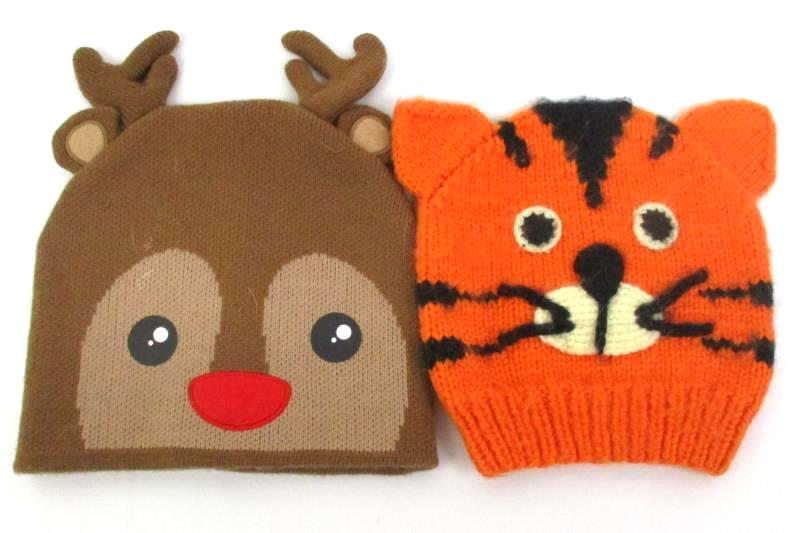 Lot of 4 Children's Cartoon Character Knit Hats Spiderman Domo Rhudolph Tiger
